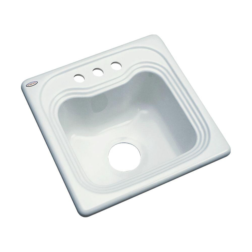Thermocast Oxford Drop-In Acrylic 16 in. 3-Hole Single Bowl Kitchen Sink in Ice Grey