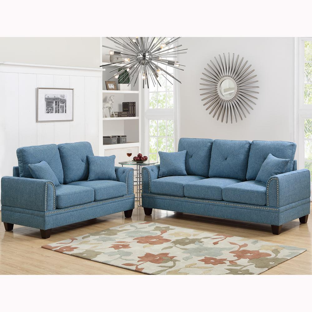 Venetian Worldwide Majella 2-Piece Blue Sofa Set VENE-F6508 ...