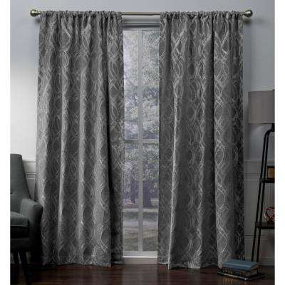 Elena Soft Grey Wave Chenille Rod Pocket Top Window Curtain