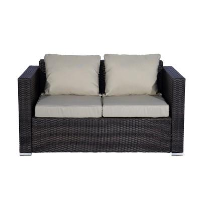 Kaison 6-Piece Modern Sectional Wicker Patio Conversation Set and Storage Ottoman with Gray Cushions