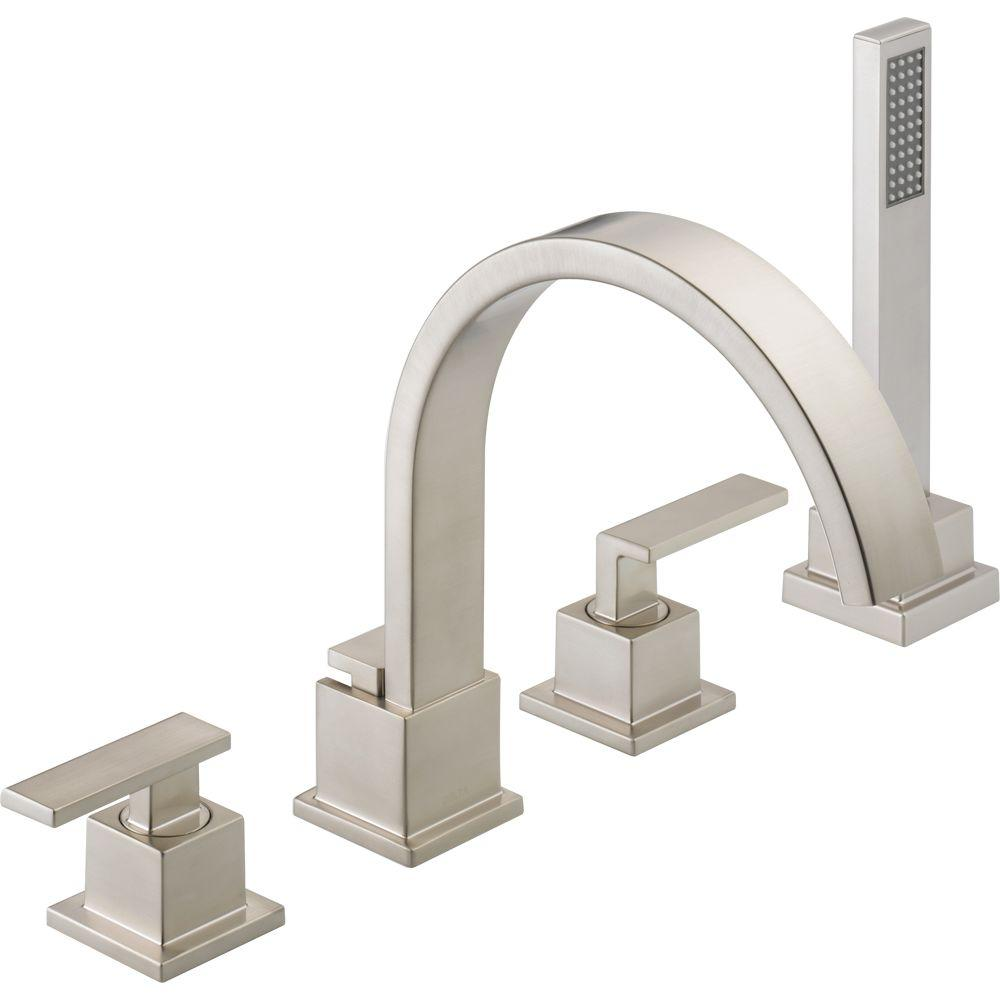 Delta Vero 2-Handle Deck-Mount Roman Tub Faucet with Hand Shower Trim Kit Only in Stainless (Valve Not Included)