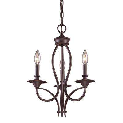 Medford 3-Light Oiled Bronze Ceiling Mount Chandelier
