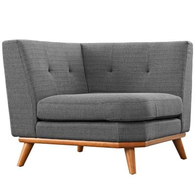 Engage Gray Polyester Sectional Corner Chair with Tapered Wood Legs