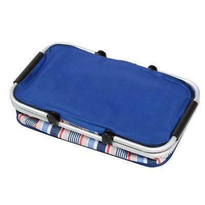 1 Gal. Foldable Thermal Insulation Picnic Basket Blue Strips Storage Box