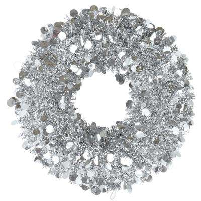 17 in. Silver Tinsel Wreath (2-Pack)