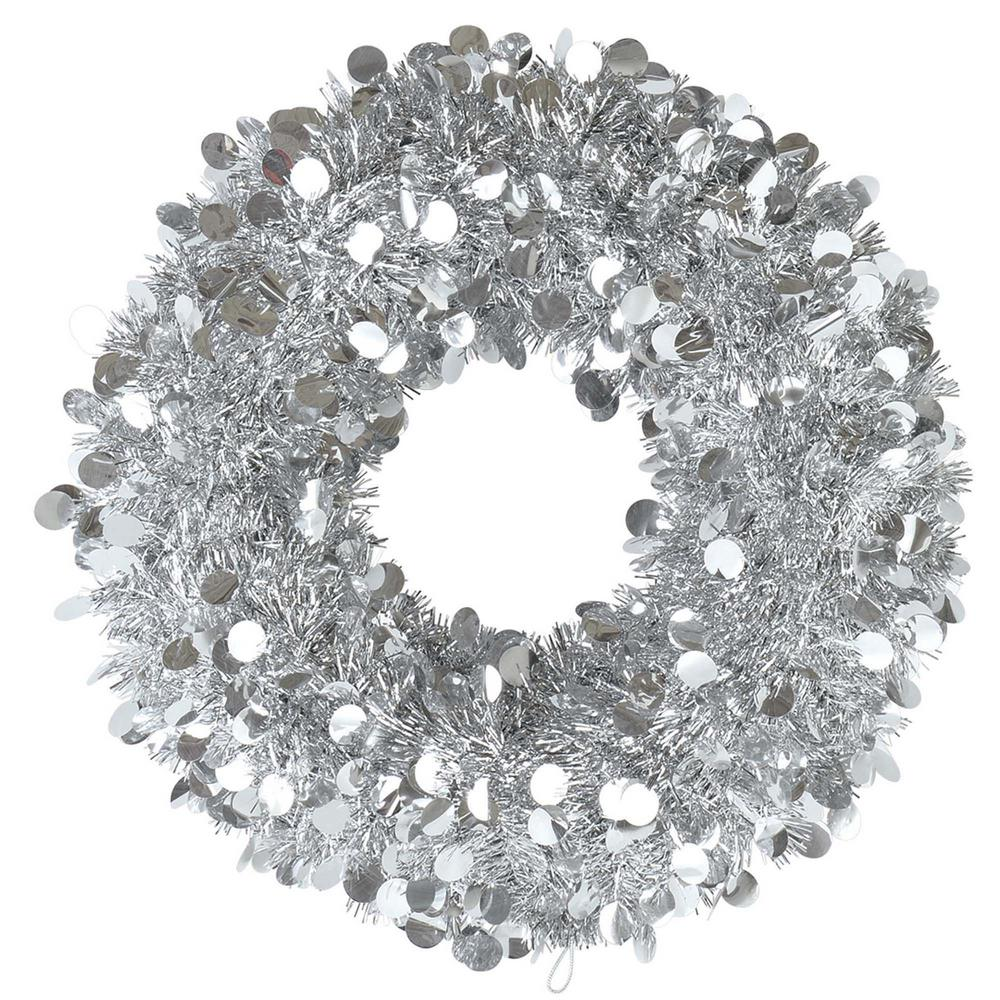 Silver Christmas Wreath.Amscan 17 In Silver Tinsel Wreath 2 Pack