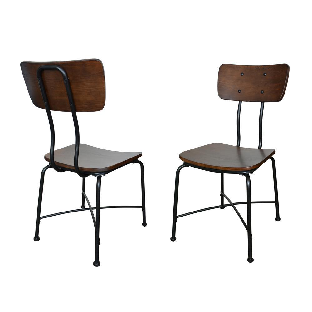 Carolina Forge Evan Elm Wood Dining Chair (Set of 2) CF1737-ELMBLK