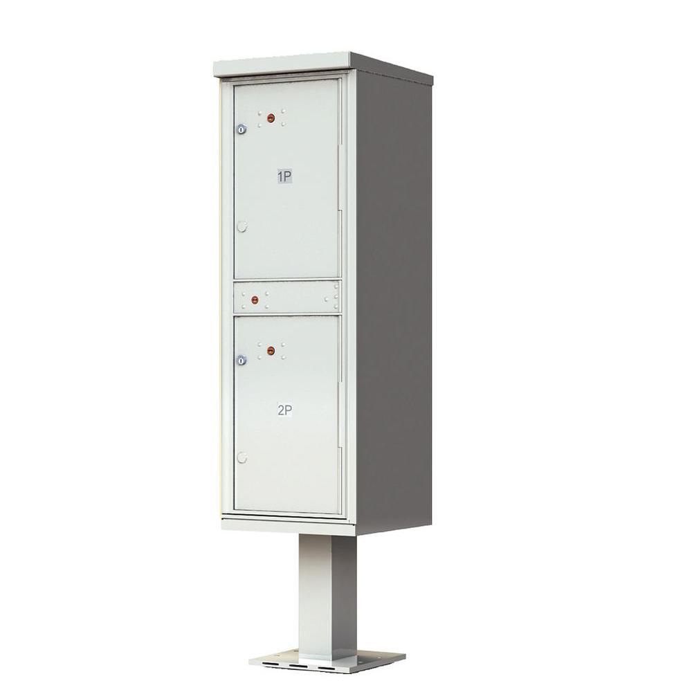 1,590 Valiant Postal Gray Pedestal Mount Locking 2 Compartment Parcel Locker