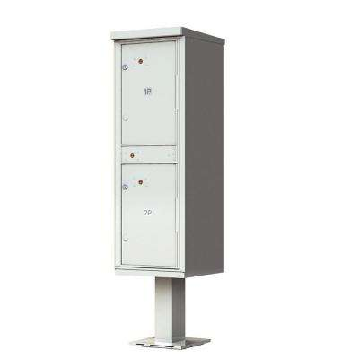 1,590 Valiant Postal Gray Pedestal Mount Locking 2 Compartment Parcel Locker Mailbox