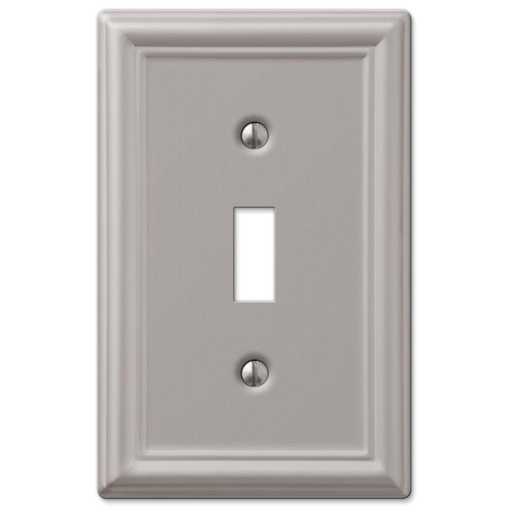 Hampton Bay Ascher 1 Gang Toggle Steel Wall Plate - Brushed Nickel