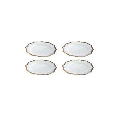 Bubbly Bar White/Gold Shaped Scalloped Plates (Set of 4)