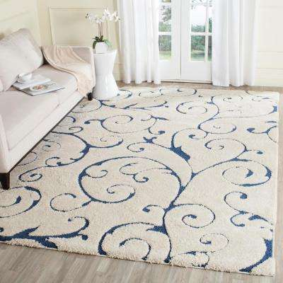 Florida Shag Cream/Blue 9 ft. 6 in. x 13 ft. Area Rug