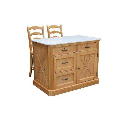 Country Lodge Pine Kitchen Island with Quartz Top and Two Bar Stools