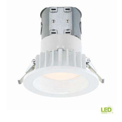 Easy-Up 4 in. White Baffle Integrated LED Recessed Kit at 91 CRI, 2700K, Warm White