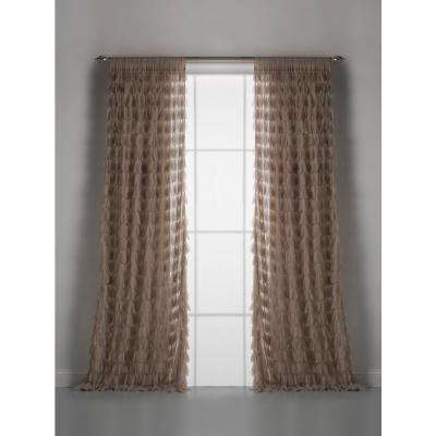Chichi 54 in. W x 108 in. L Sable Cascading Tulle Petal Window Curtain