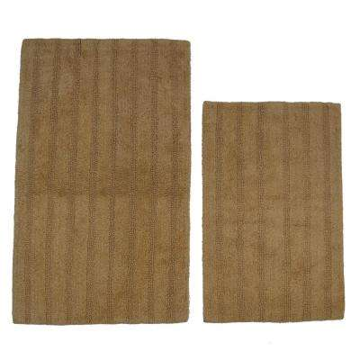 Natural 21 in. x 34 in. and 24 in. x 40 in. Linear Reversible Reversible Bath Rug Set (2-Piece)