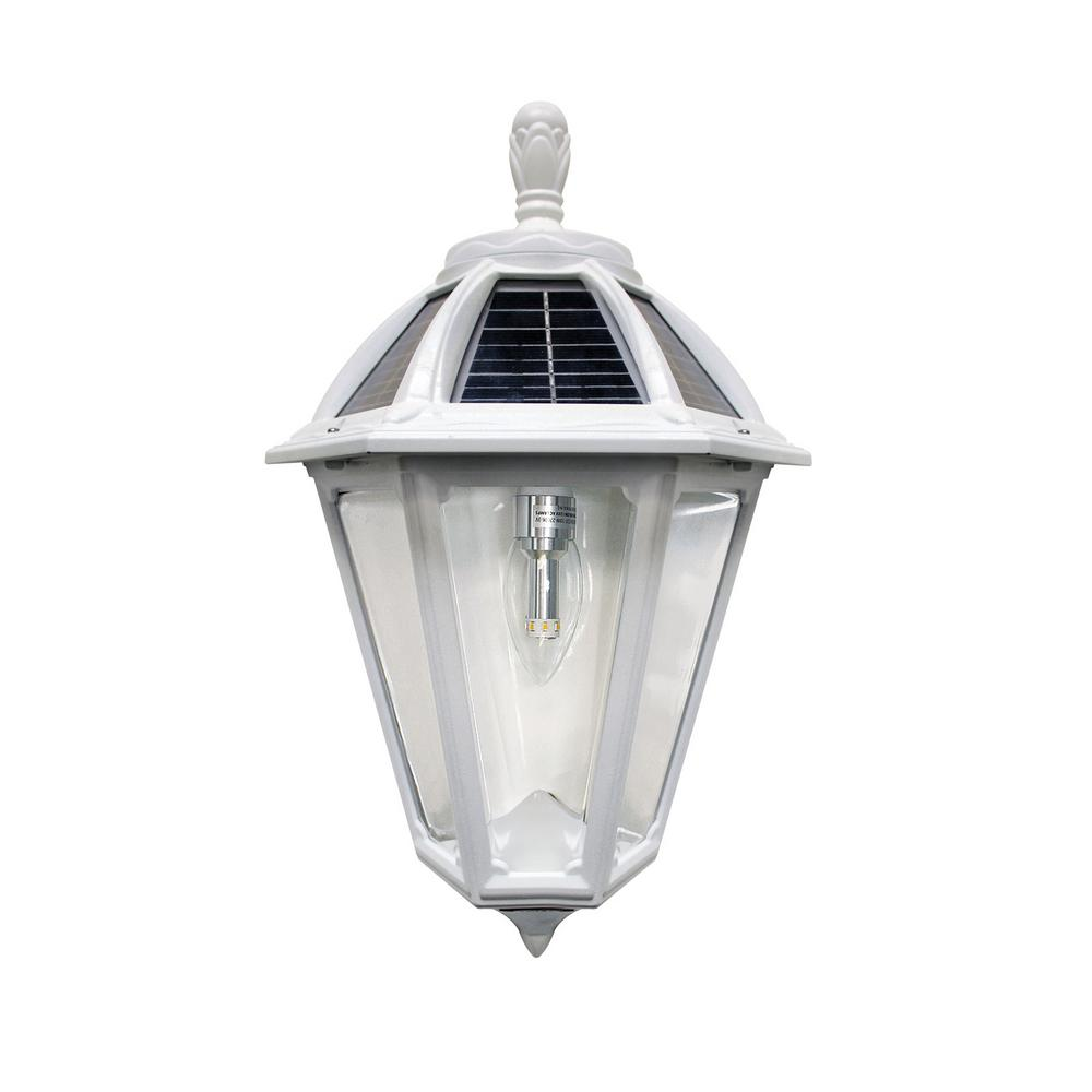 GamaSonic Gama Sonic Polaris Sconce 1-Light White Outdoor Integrated LED Solar Wall Lantern Sconce with GS Solar Bulb