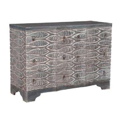 Waterfront Harmony Gray and white 6-Drawer Chest