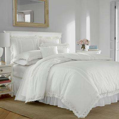 Annabella 3-Piece White Full/Queen Duvet Cover Set