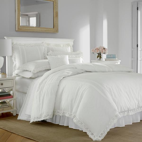 Laura Ashley Annabella White 3 Piece King Duvet Cover Sets 221289