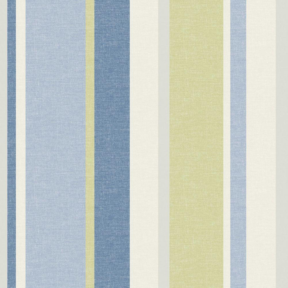 Raya Blue Linen Stripe Wallpaper