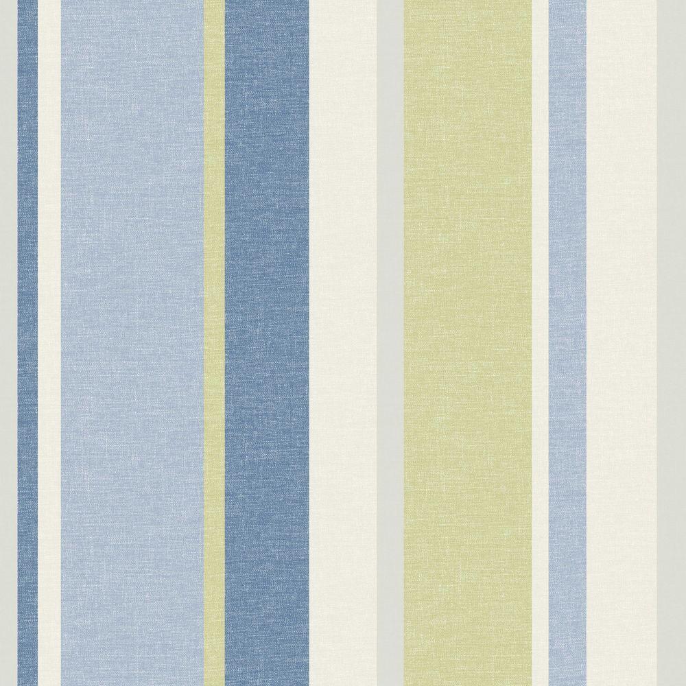 Raya Blue Linen Stripe Wallpaper