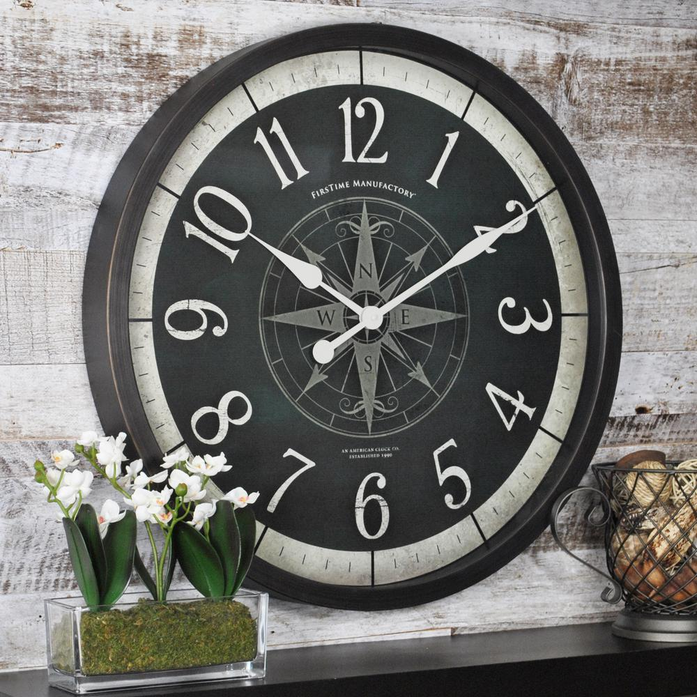 Firstime 24 in compass rose wall clock 10062 the home depot compass rose wall clock 10062 the home depot amipublicfo Images