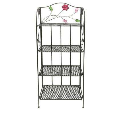 4-Tier Black Open Iron Shelf with Floral and Scroll Work Accents