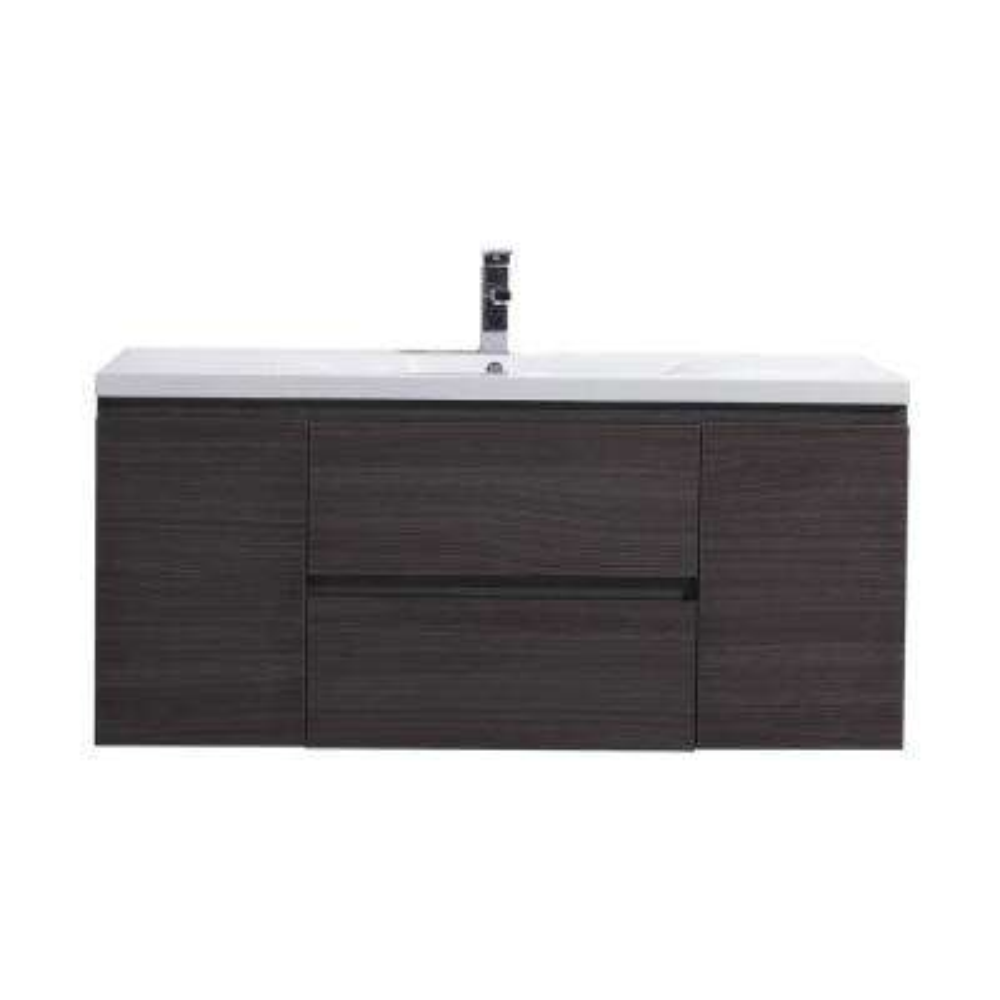 Bohemia 48 in. W Bath Vanity in Dark Gray Oak with Reinforced Acrylic Vanity Top in White with White Basin