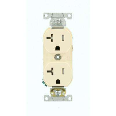 20 Amp Commercial Grade Tamper Resistant Backwired Self Grounding Duplex Outlet, Light Almond