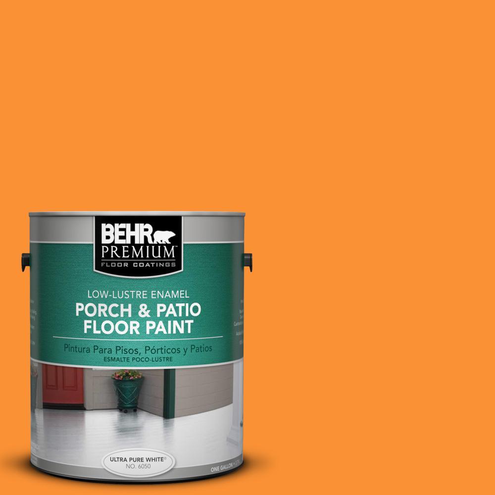 1 gal. #P240-7 Joyful Orange Low-Lustre Interior/Exterior Porch and Patio Floor Paint
