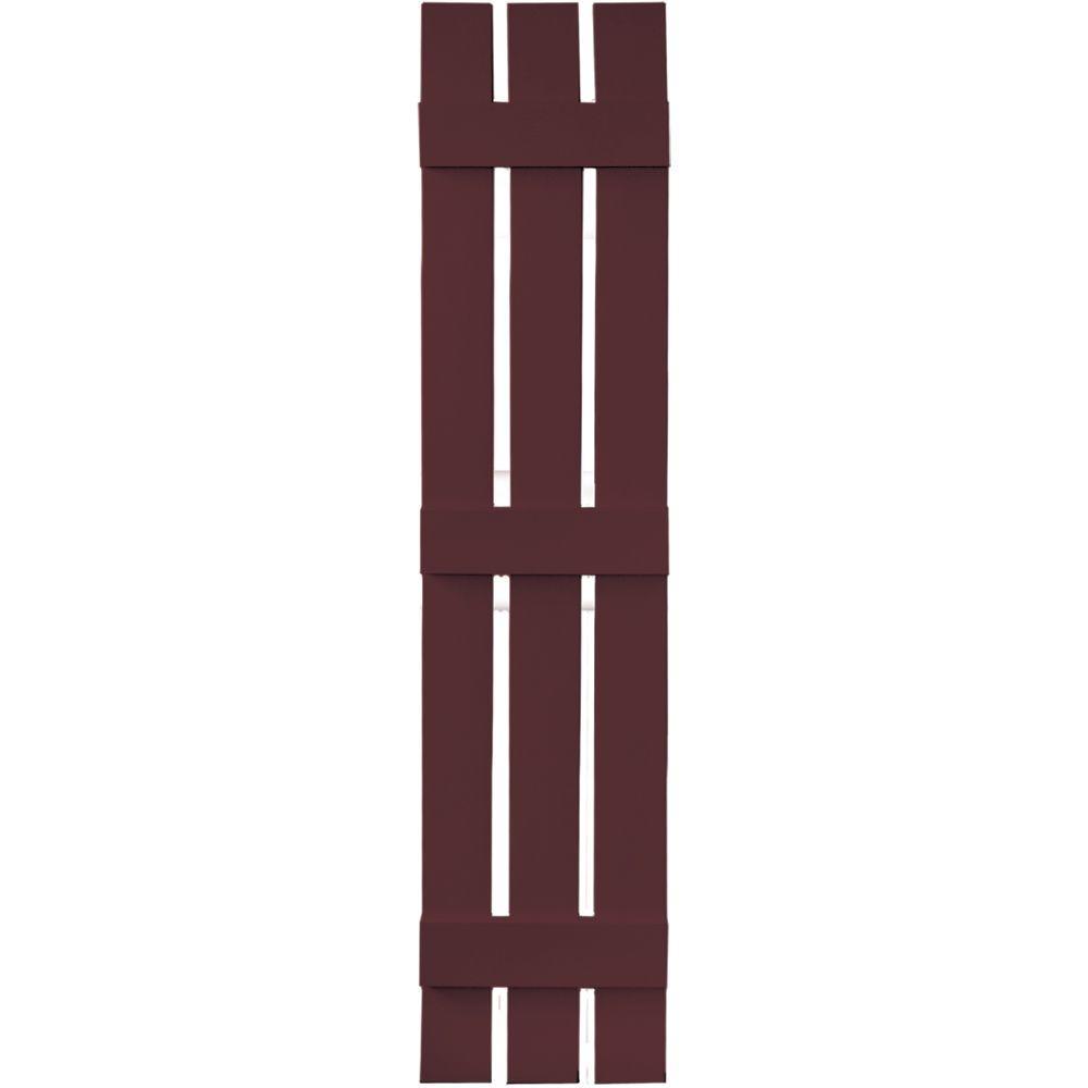 12 in. x 63 in. Board-N-Batten Shutters Pair, 3 Boards Spaced #167 Bordeaux