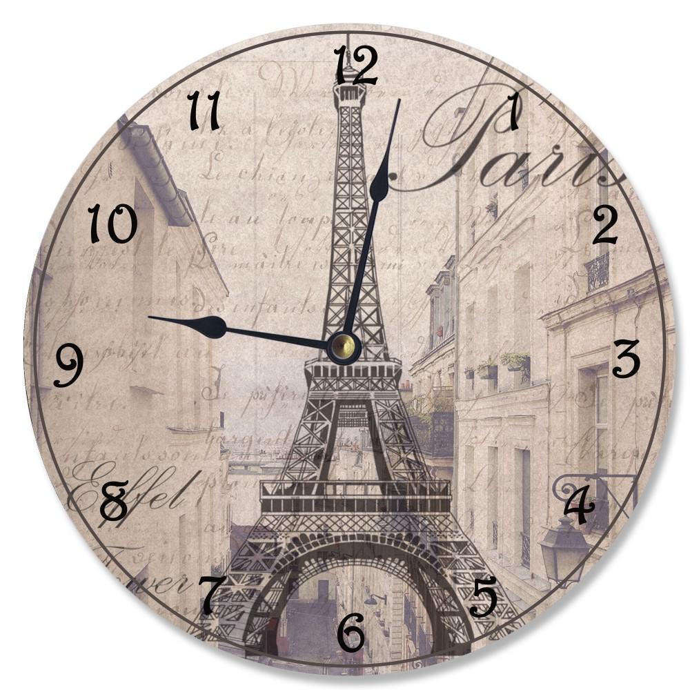 """La Tour Eiffel Sepia Photogram"" by Daphne Polselli Wall Clock"
