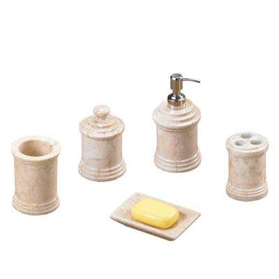 Column 5-Piece Bath Set in Champagne Polished Marble