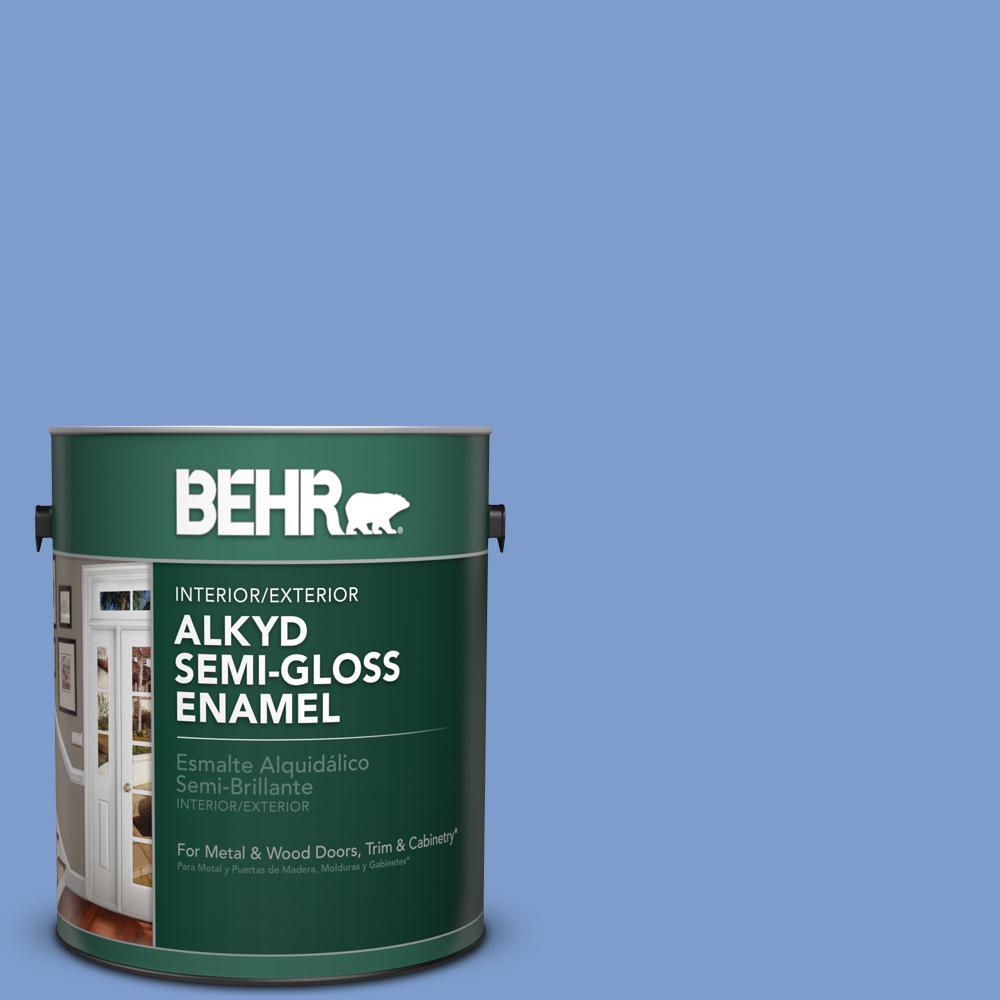 1 gal. #BIC-09 Caribbean Sky Semi-Gloss Enamel Alkyd Interior/Exterior Paint