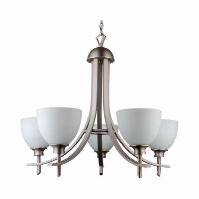 5-Light Brushed Pewter Chandelier with Etched Dove White Glass Shade