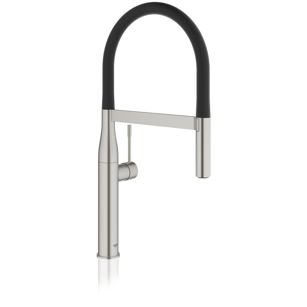 grohe essence new single handle pull down sprayer kitchen faucet in supersteel infinity 30295dc0. Black Bedroom Furniture Sets. Home Design Ideas
