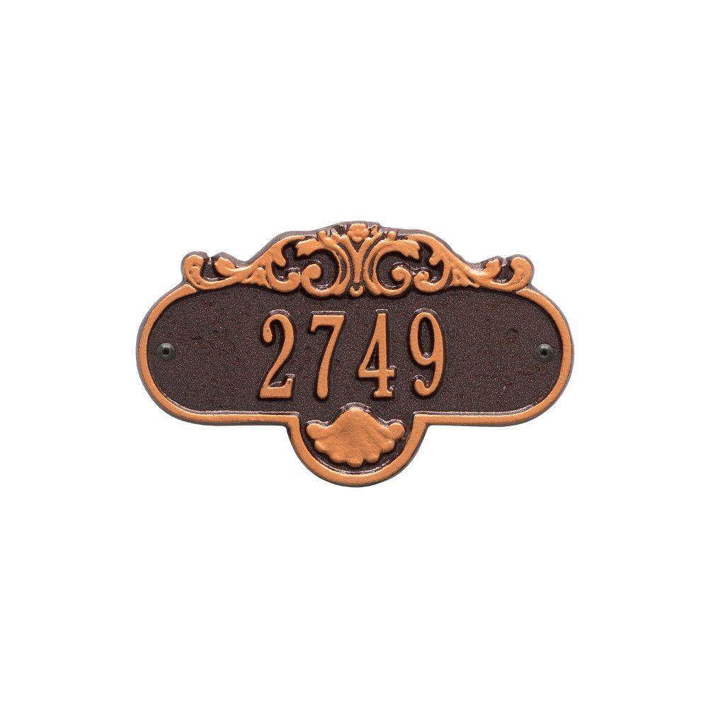 Whitehall Products Oval Rochelle Petite Antique Copper Wall 1-Line Address Plaque