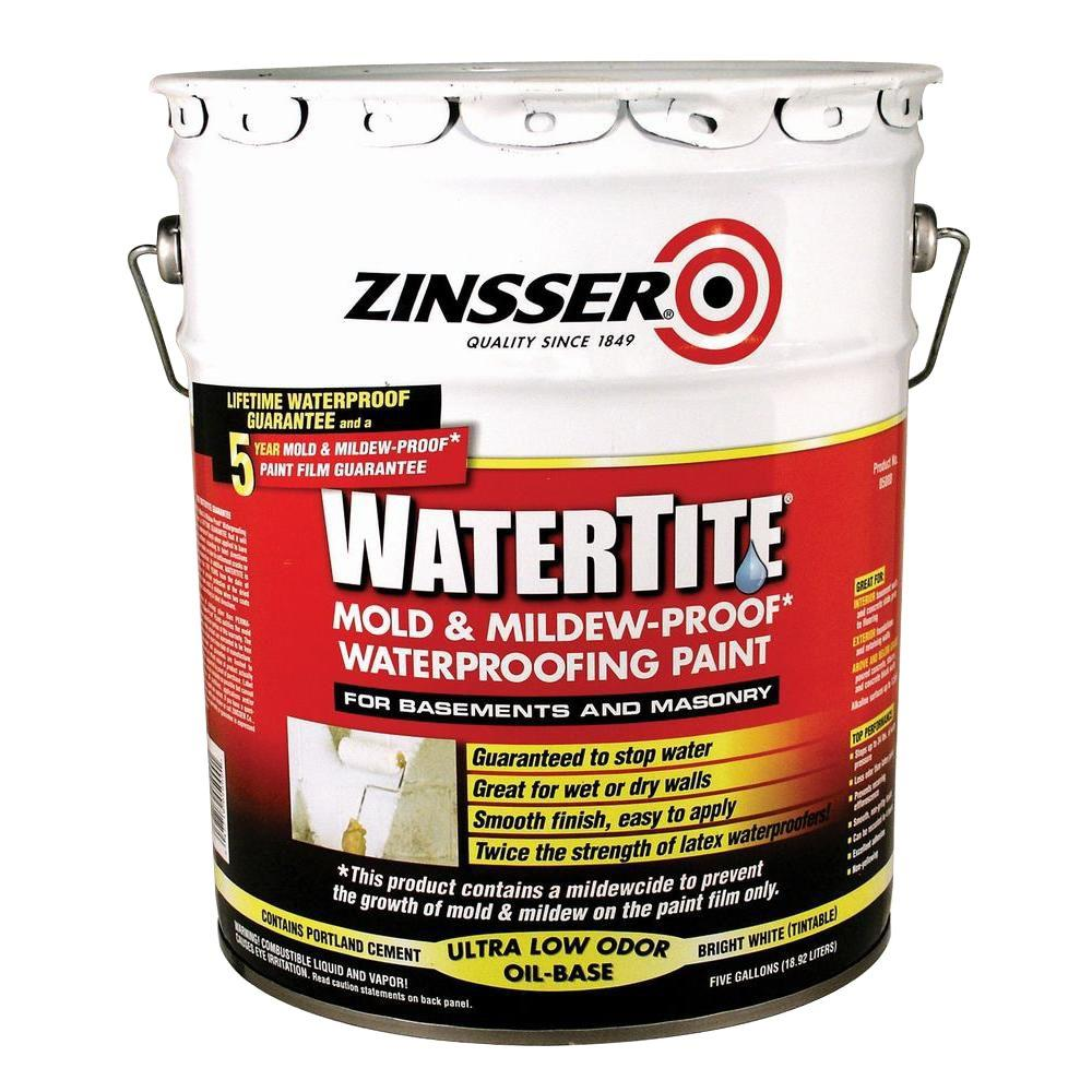 zinsser 5 gal watertite mold and mildewproof white oil based paint5000 the home depot