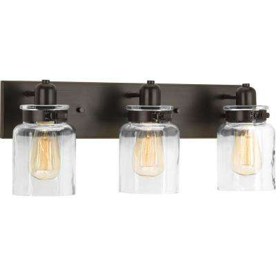Calhoun Collection 21.63 in. 3-Light Antique Bronze Bathroom Vanity Light with Glass Shades
