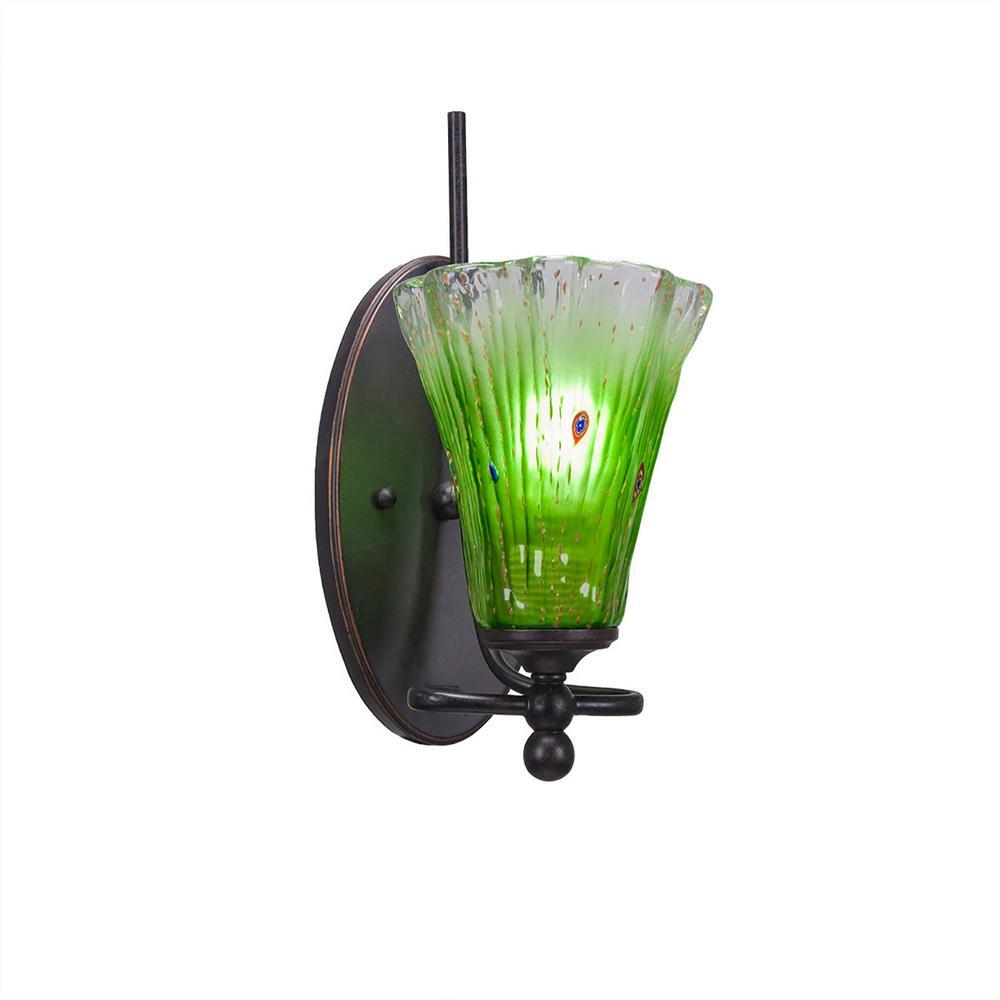 1-Light Dark Granite Sconce with Kiwi Green Ribbed Glass