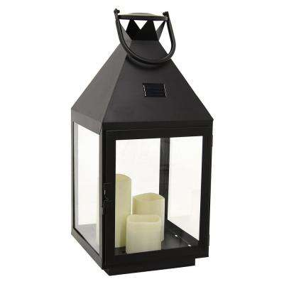 9.5 in. x 9 in. Black Metal Lantern with LED Candle
