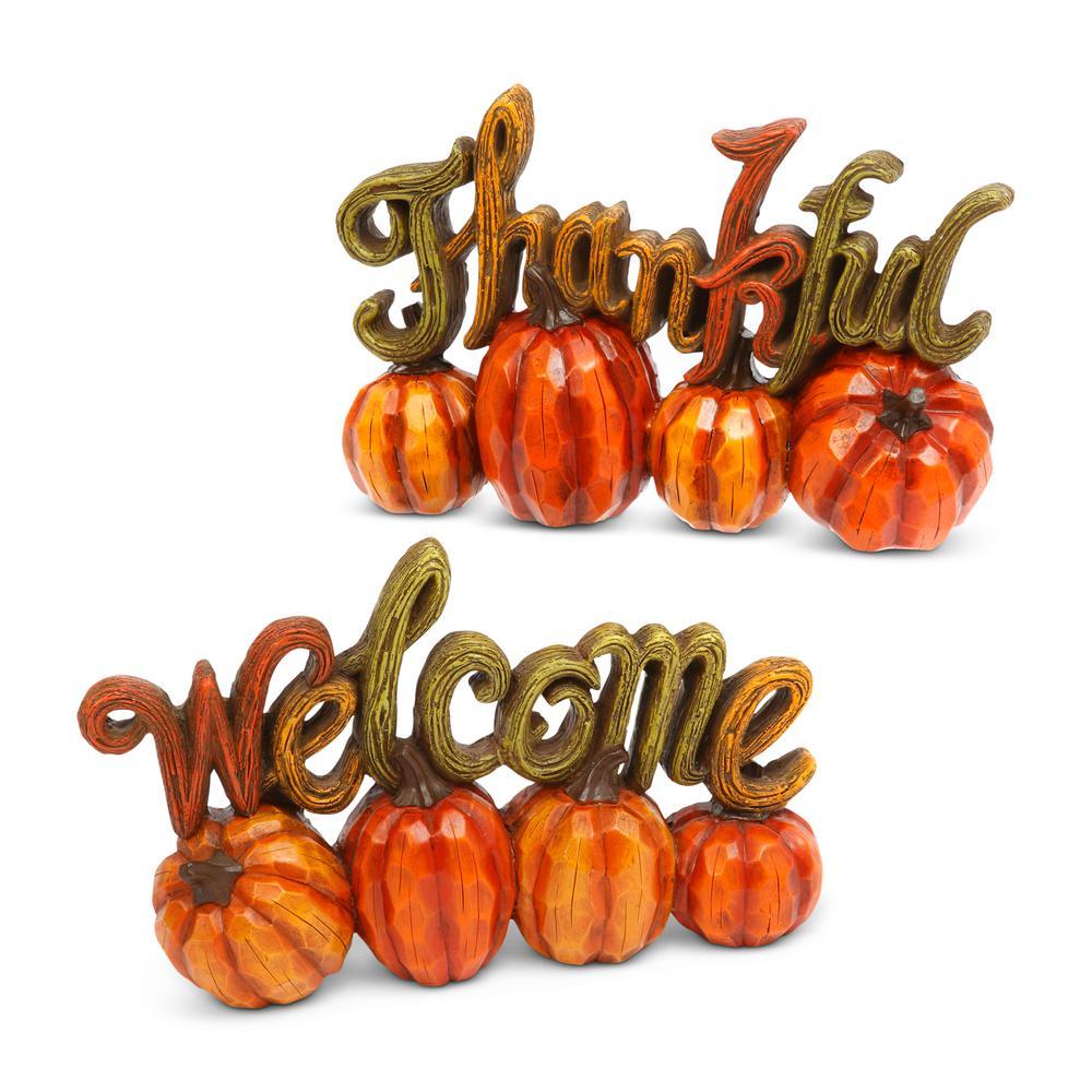6.89 in. H Resin Harvest Thanksgiving Pumpkin Tabletop Decor (Set of 2)