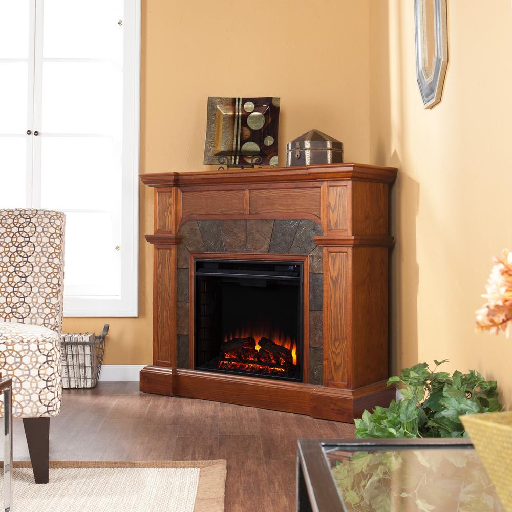 Glen Cove 45.5 in. W Convertible Electric Fireplace in Mission Oak