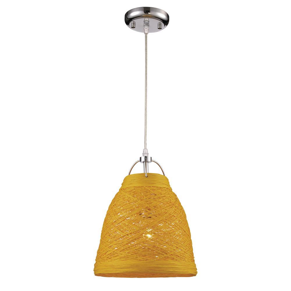 Basketweave 14 in. 1-Light Yellow Indoor Pendant