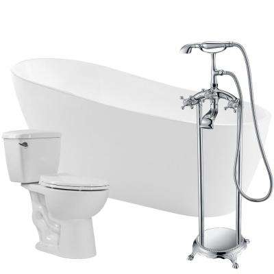 Trend 67 in. Acrylic Flatbottom Non-Whirlpool Bathtub with Tugela Faucet and Author 1.28 GPF Toilet
