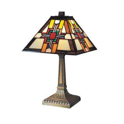 15 in. Morning Star Antique Brass Table Lamp