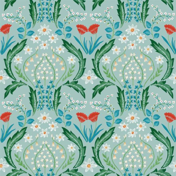Scandi Floral Teal Vinyl Peelable Roll (Covers 60 sq. ft.)