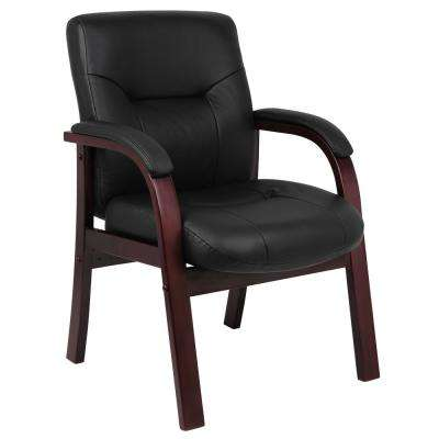 Black Executive Leather Guest Chair with Mahogany Wood