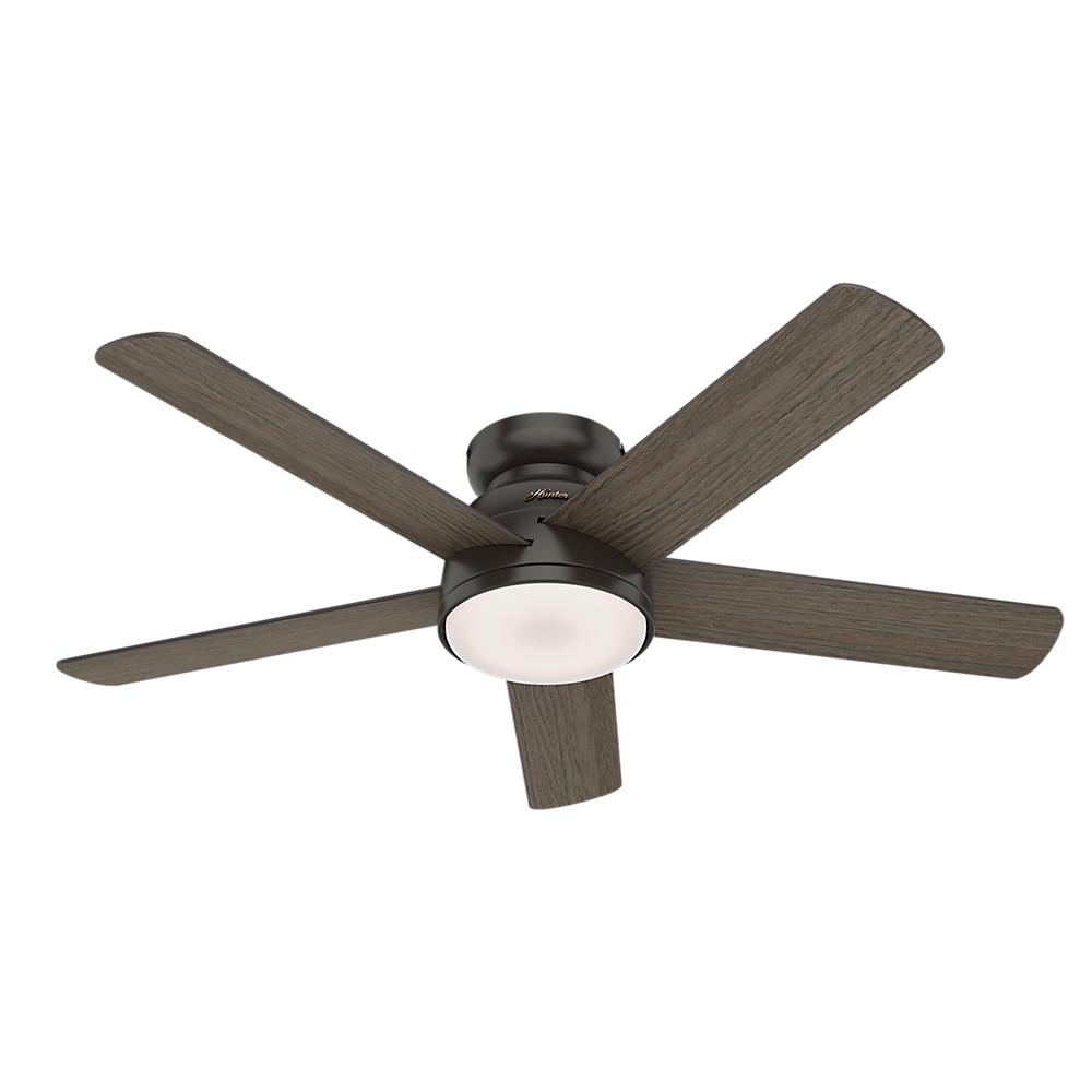 Hunter Romulus 54 in  Integrated LED Indoor Noble Bronze Low Profile  Ceiling Fan with Light Kit and Remote Remote Control